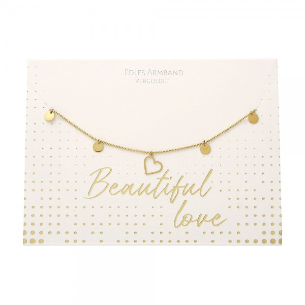Armband - Beautiful - Herz - vergoldet
