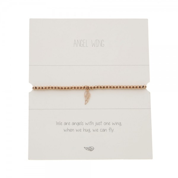 Bracelet With Balls - Rosegold-Plated - Angel Wing