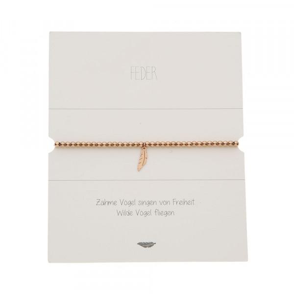 Kugelarmband - rosévergoldet - Feder