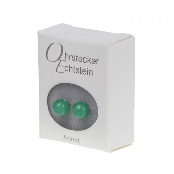 Ohrstecker - Echtstein - Achat (grün)