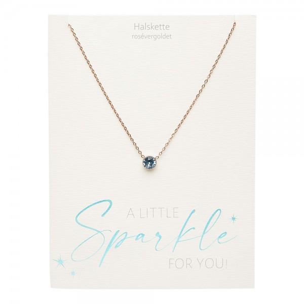 Necklace - Sparkle - Rose Gold Plated - Aquamarine