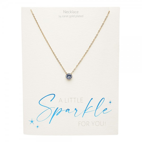 Necklace - Sparkle - Gold Plated - Sapphire