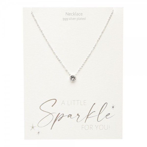 Necklace - Sparkle - Silver Plated - Crystal