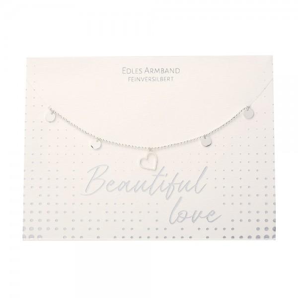 Bracelet - Beautiful - Heart - Silver Plated