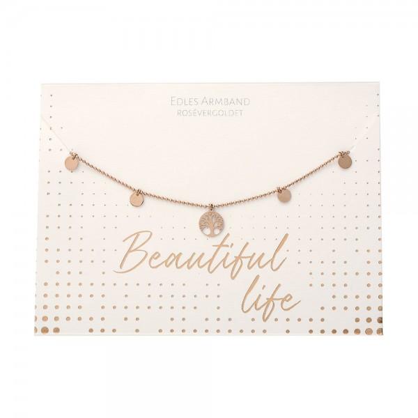 Armband - Beautiful - Baum des Lebens - rosévergoldet