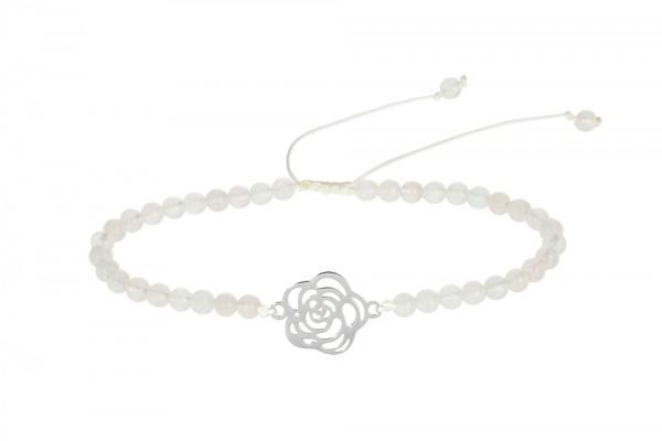 """Echtsteinarmband mit Symbol - """"Rose"""" - """"Rosenquarz"""" gefärbt"""