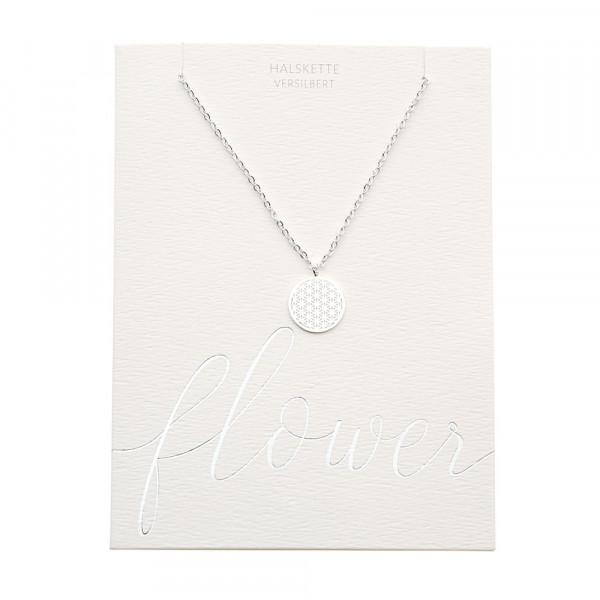 Halskette - versilbert - Blume des Lebens