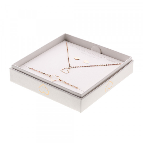 Gift Set - Jewellery - Rose Gold Plated - Heart