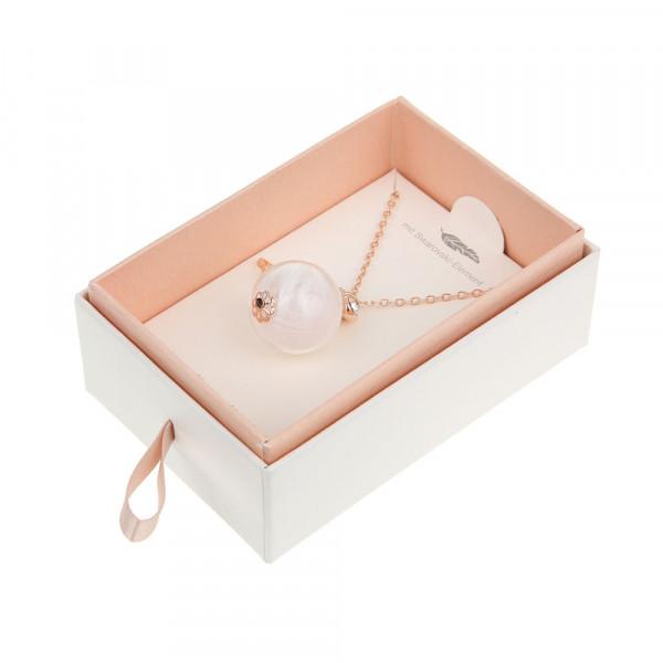 Halskette lang mit Engelsfeder rosé