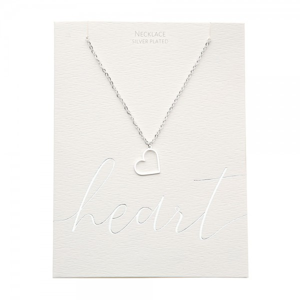 Necklace - Silver-Plated - Heart