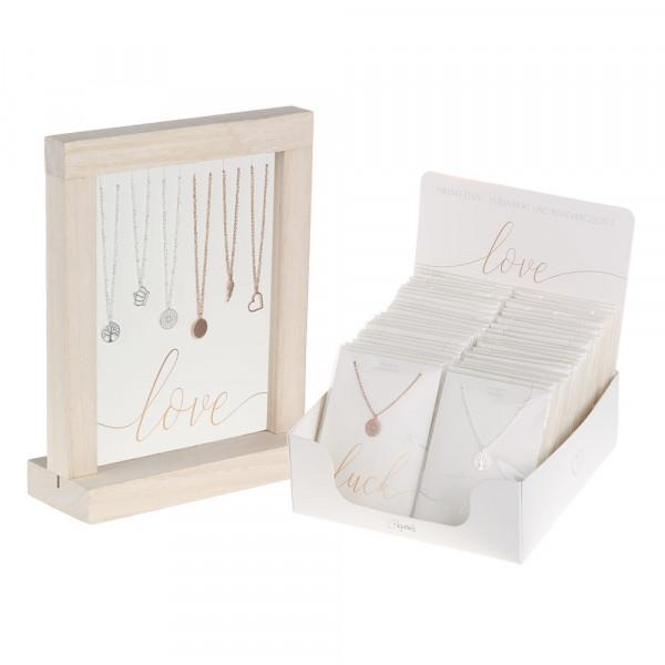 Halsketten versilbert & rosévergoldet Display Paket