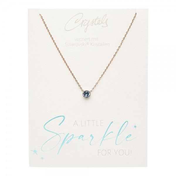 Halskette - Sparkle - rosévergoldet - Aquamarin