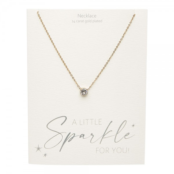 Necklace - Sparkle - Gold Plated - Crystal