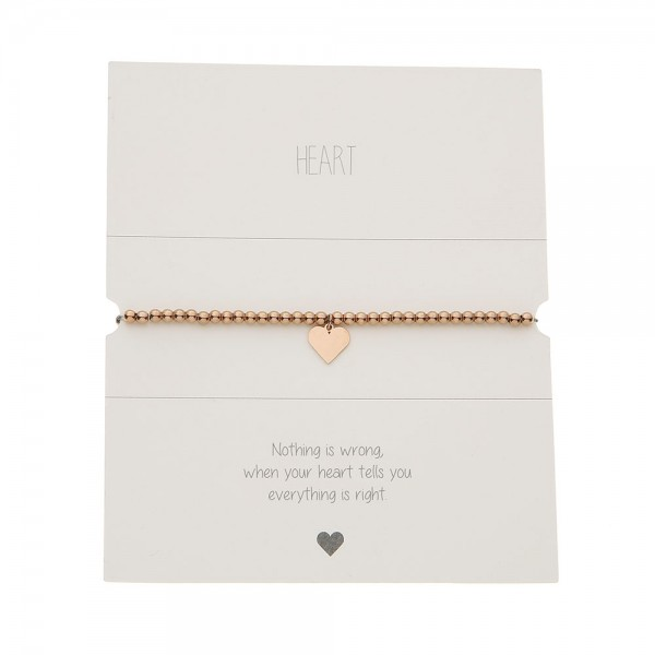 Bracelet With Balls - Rosegold-Plated - Heart