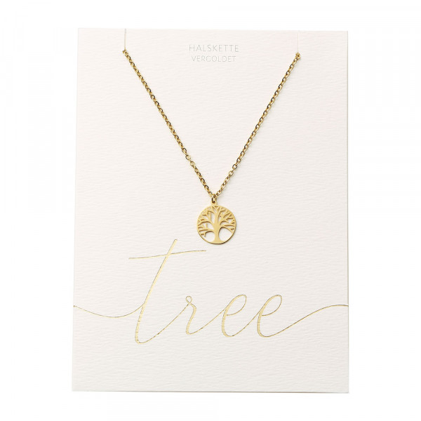 Halskette - vergoldet - Baum des Lebens