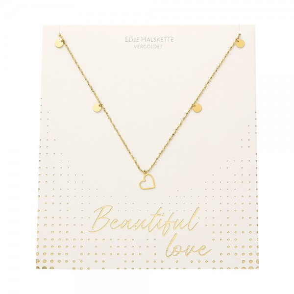 Necklace - Beautiful - Heart - Gold Plated