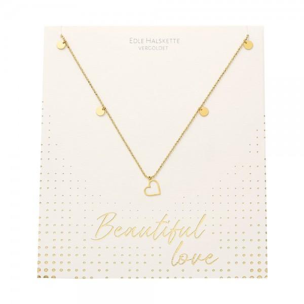 Halskette - Beautiful - Herz - vergoldet