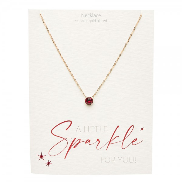 Necklace - Sparkle - Gold Plated - Ruby
