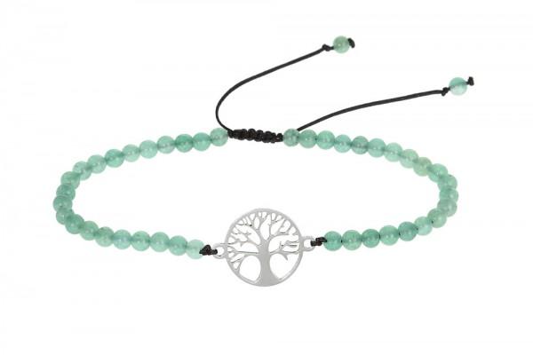 """Echtsteinarmband mit Symbol - """"Baum des Lebens"""" - """"Achat"""" grün gefärbt"""