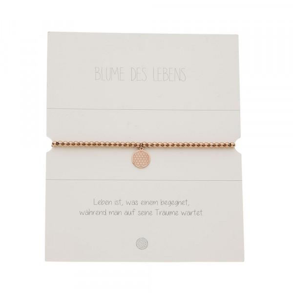 Kugelarmband - rosévergoldet - Blume des Lebens