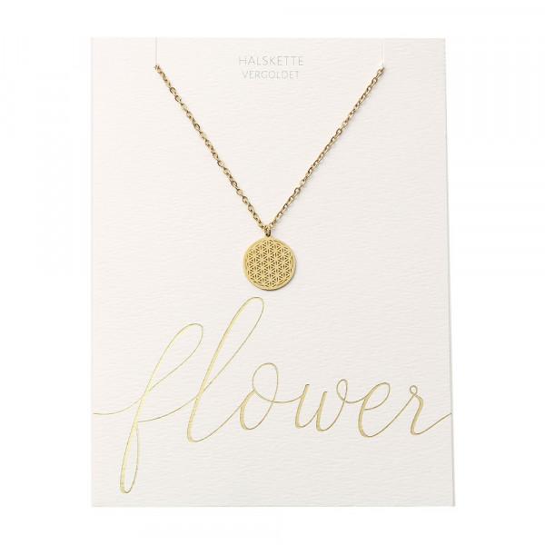 Halskette - vergoldet - Blume des Lebens