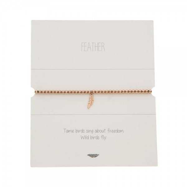 Bracelet With Balls - Rosegold-Plated - Feather