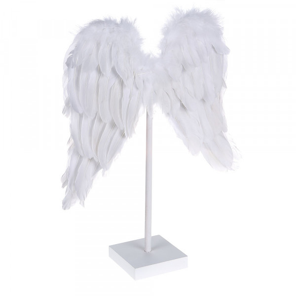 Angel feathers on a wooden stand
