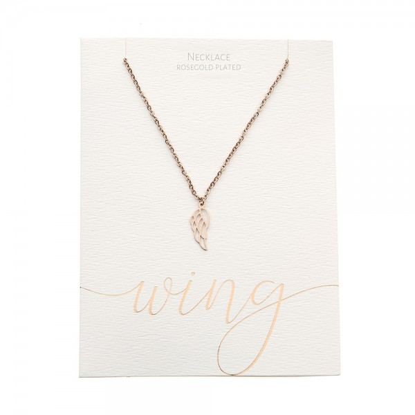 Necklace - Rosegold-Plated - Angel Wing