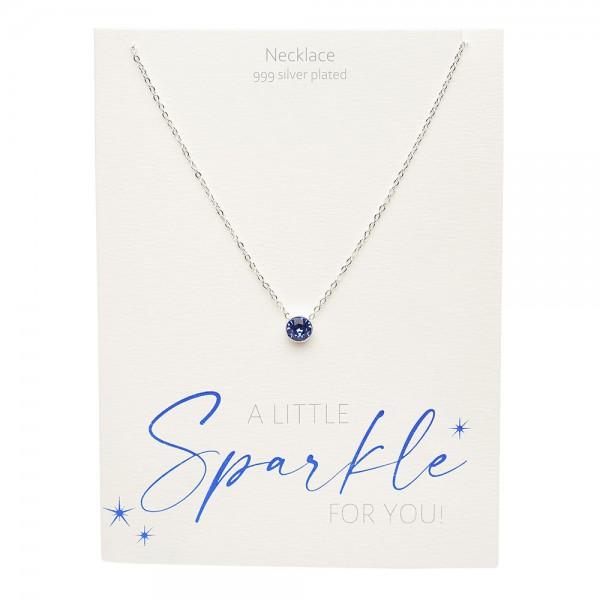 Necklace - Sparkle - Silver Plated - Dark Sapphire