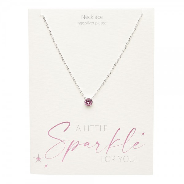 Necklace - Sparkle - Silver Plated - Rose Quartz