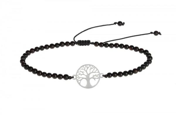 """Echtsteinarmband mit Symbol - """"Baum des Lebens"""" - """"Achat"""" schwarz gefärbt"""
