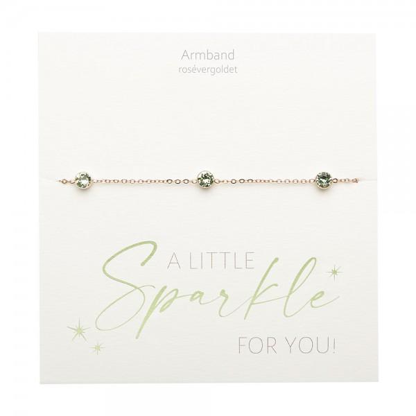 Bracelet - Sparkle - Rose Gold Plated - Peridot
