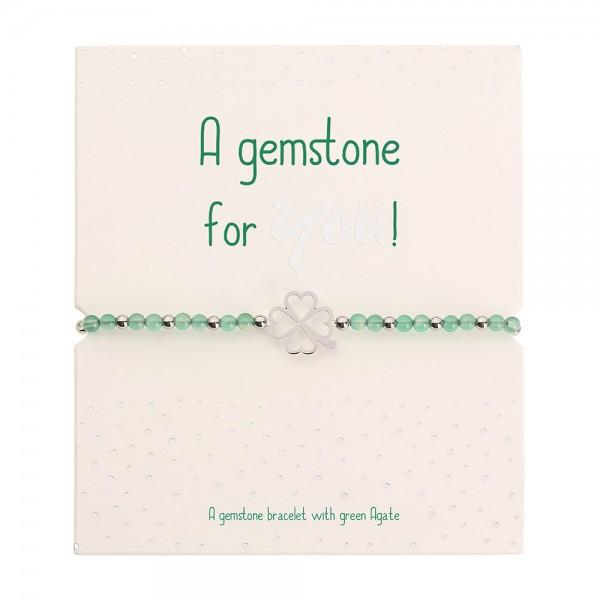 Real Stone Bracelet - Green Agate