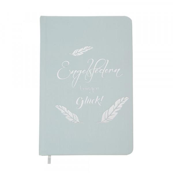 Notizbuch Engelsfedern - blaugrau