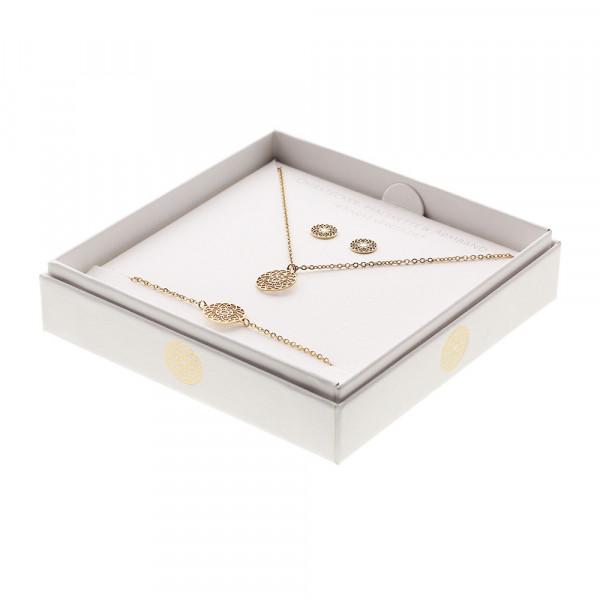 Geschenkset - Halskette-Armband-Ohrstecker - vergoldet - Mandala des Glücks