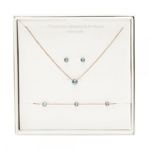 Gift Box - Sparkle - Rose Gold Plated - Aquamarine