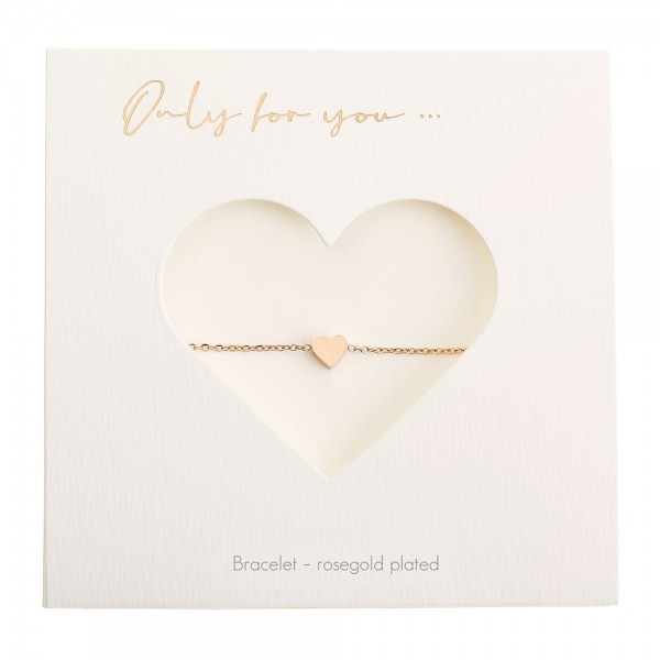 Bracelet - Only For You - Heart - Rosegold-Plated