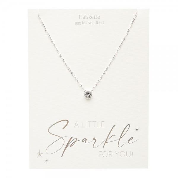 Halskette - Sparkle - feinversilbert - Kristall