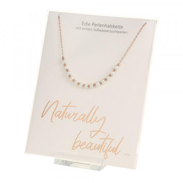 Perlenhalskette - Naturally beautiful - rosévergoldet