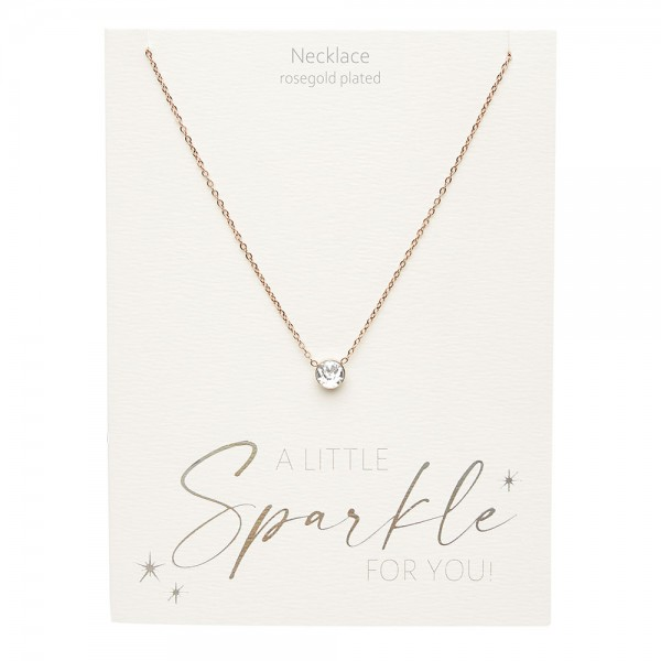 Necklace - Sparkle - Rose Gold Plated - Crystal