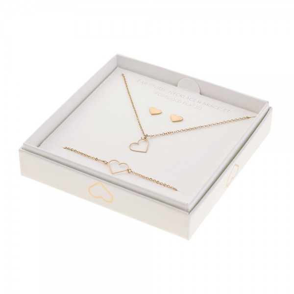 Gift Set Jewellery Roségold-Plated - Heart