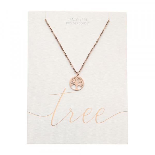 Halskette - rosévergoldet - Baum des Lebens