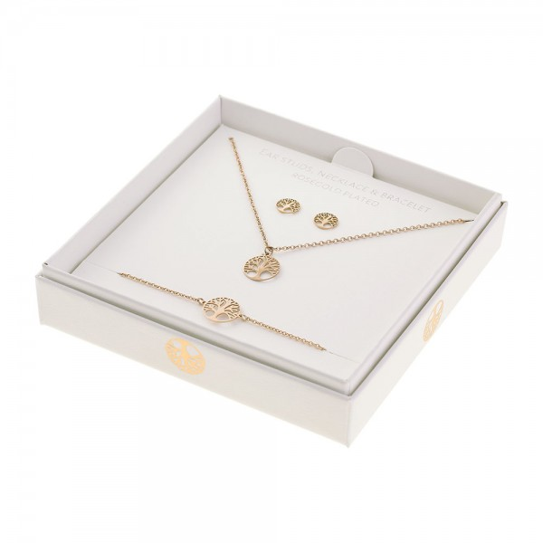 Gift Set Jewellery Roségold-Plated - Tree Of Life
