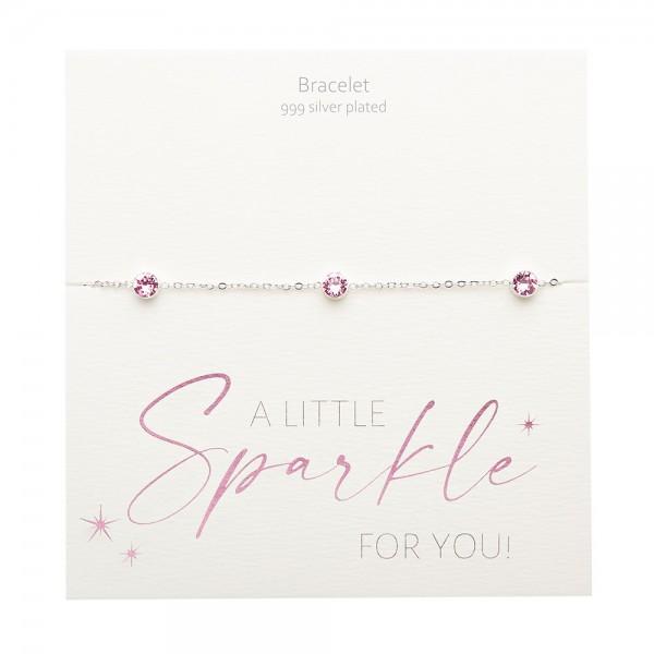 Bracelet - Sparkle - Silver Plated - Rose Quartz