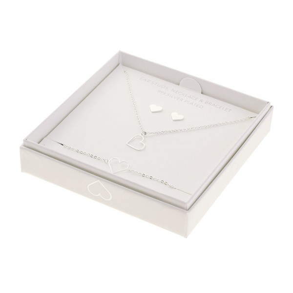 Gift Set Jewellery Silver-Plated - Heart