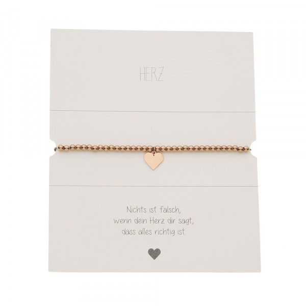 Ball Bracelet - Rose Gold Plated - Heart
